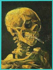 van gogh skull with burning cigarette